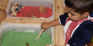 Oobleck lama com arroz colorido5
